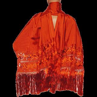 Vintage 60s Orange Rayon Shawl Stole with Fringe