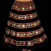 Vintage 1950s Pierre Balmain Circle Skirt Black Velvet w Silk Ribbon Size M
