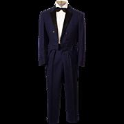 Vintage 1950s Blue Tuxedo Tails Suit - Size 36