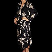 Vintage 1940s Silk Crepe Floral Print Dress with Peplum