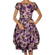 Vintage 1950s Lavender Silk Floral Print Dress - Bubble Hem -  Mam'selle by Betty Carol - S