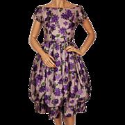 Vintage 1950s Lavender Silk Floral Print Dress - Bubble Hem -  Mam'selle by Betty Carol - S