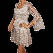 Vintage 1960s Silver Lace Mini Dress - MOD - S