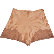 Vintage 1930s Peach Silk and Lace Tap Pants - Step-In Panties - Unused - M