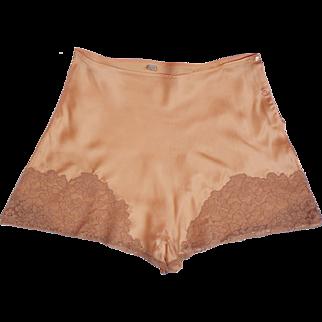 Vintage 1930s Peach Silk and Lace Tap Pants - Step-In Panties - Unused - M