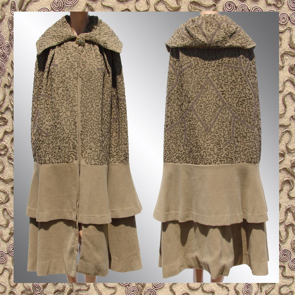 Vintage 1920s Wool Cloak with Soutache Trim from ...