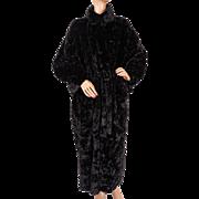 Vintage 1990s Sonia Rykiel Black Faux Fur and Satin Reversible Coat - L