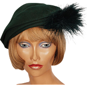 Vintage 1950s Ladies Hat Green Felt by Vogue de Paris Montreal