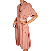 Vintage 1940s Dress Pink Casual Style Size Large