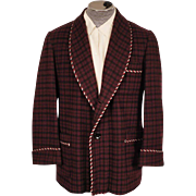 Vintage Smoking Jacket Maroon & Black Check Wool 1950s Mens Fashion Size M / L