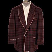 Vintage Smoking Jacket Maroon & Black Check Wool 1950s Mens Fashion Size M / L