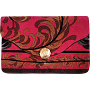 Vintage 60s Emilio Pucci Mod Velvet Evening Clutch Purse Bright Pink