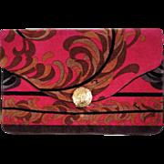 Vintage 60s Emilio Pucci Mod Velvet Evening Clutch Purse Bright Pink