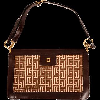 Vintage 1970s Pierre Balmain Paris Logo Leather Handbag Purse Made in France