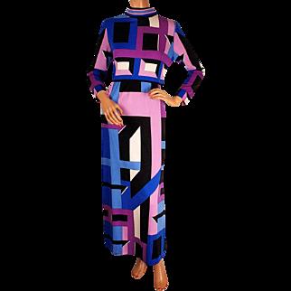 Vintage 1970s Mod Maxi Dress by Paganne Gene Berk - Pucci Style Geometric Print - Size M 8