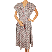 Vintage 1950s Cotton House Dress NOS w Rosebud Novelty Print New Old Stock Size M - L