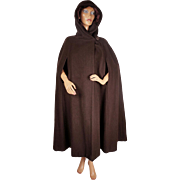 Vintage 1960s Brown Wool Cape with Hood Lou Ritchie for Rain Master Canada Size M / L