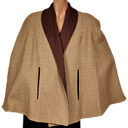 Vintage 1950s Brown Wool Reversible Capelet or Cape with Houndstooth Reverse Size M