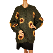 Vintage 1980s Ladies Hand Knit Green Mohair Sweater with Sunflowers - L / XL