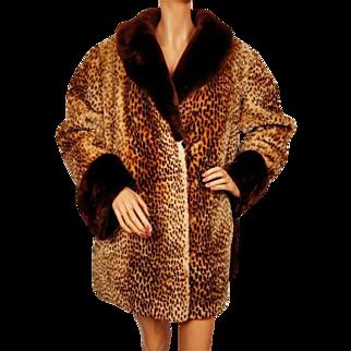 Vintage 1950s Spotted Mouton Jacket - Ladies L