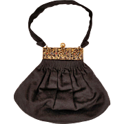 Vintage 1940s Black Wool Handbag by Guild Creations