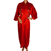 Vintage Chinese Embroidered Red Silk Dressing Gown Robe 1960s Size L