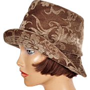 Vintage 1960s Bucket Hat Brown Devore Velvet Ladies Size M 7