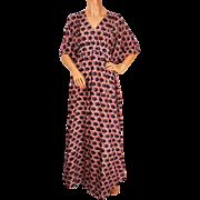 Vintage 60s Silk Caftan Dress Burlingtons Taj Mahal Hotel Kaftan Ladies Size M / L