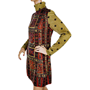 Vintage Mod Mini Dress 1960s Metallic Silk Emilia Bellini Florence Italy Size M
