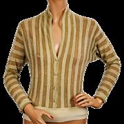 Vintage Mirsa Italy Metallic Wool Knit Blouse 1950s Size M
