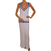 Vintage 70s Patriotic Knit Cruise Dress Gianni Ferri for Banff Ribbed Metallic Acrylic Size L 14