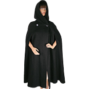 Vintage Rainmaster Marielle Fleury Black Wool Cape with Hood 1970s M / L