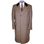Vintage 70s Mens Herringbone Wool Chesterfield Overcoat Coat Size 42 R