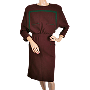 Vintage 1980s Valentino Dress Maroon Wool Crepe Size 8