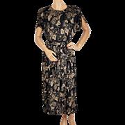 Vintage 1970s Jaeger Floral Print Dress Size 10 Medium