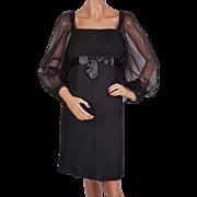 Vintage 1960s Cocktail Dress Black Chiffon Poet Sleeve by Elinor Gay NY Size S