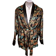 Vintage 1960s Chinoiserie Smoking Jacket Mandarin Fashions Mens Size L
