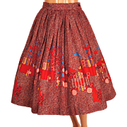Vintage 1950s Novelty Border Print Circle Skirt Carnival Fair Pattern Size S / M