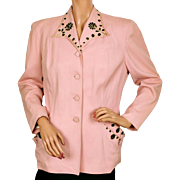 Vintage 1940s Ladies Suit Jacket Pink w Black Beading Size M