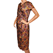 Vintage 1950s Silk Dress Floral Print by Vanity Original Montreal Size M