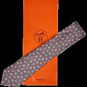 Vintage Hermes Tie Silk Twill 7836 UA Daisy Flower Pattern Mens Necktie Made in France