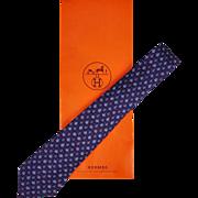 Vintage Hermes Tie Silk Twill 7072 TA Oak Leaf Pattern Mens Necktie Made in France