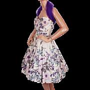 Vintage 1950s Cotton Dress Strapless Floral Print by Rappi Size S