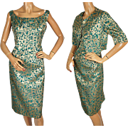 Vintage 1950s Bombshell Dress Gold Lame w Matching Jacket by Rappi Size M / L