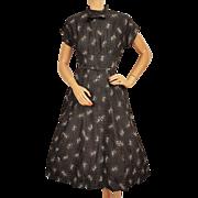 Vintage 50s Dress Black Cotton w White Print Size M