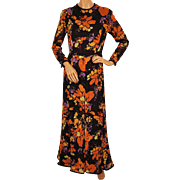 Vintage 1970s Maxi Dress - Floral Print by Vali - Size M