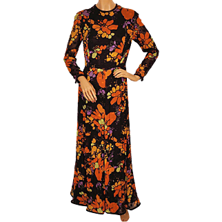 Vintage 1970s Dress Colourful Floral Evening Style by Vali Montreal Designer Size M