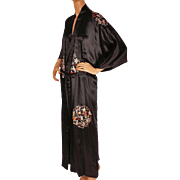 Vintage Chinese Embroidered Black Dressing Gown Robe 1960s Size XL