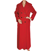 Vintage 1970s Ladies Red Wool Maxi Coat by Joshar Montreal Size M / L