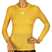 Vintage 70s Courreges Logo Yellow Ribbed Knit Top Ladies Size S